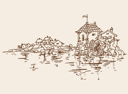 water mill: The old water mill and small village near the lake. Sketch. Vector illustration. Illustration