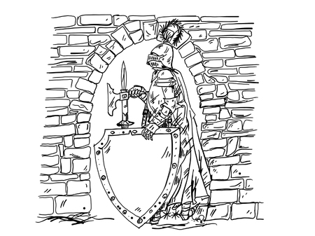 halberd: Knight with a halberd axe and spearhead in the arch of the castle gate. Vector