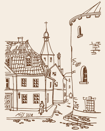 View of the ancient streets of the old town of Riga with a round tower and Cathedral in the distance. Vector. Illustration