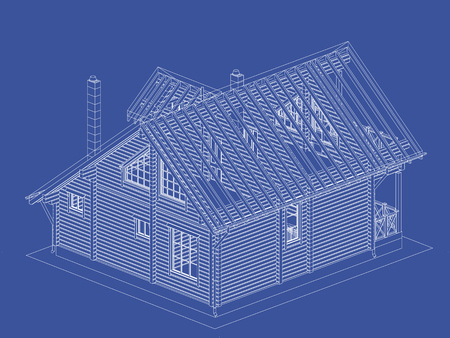 glued: The authors project. blueprint of a wooden house from glued profiled beam with the rafters on the roof. Vector. Illustration