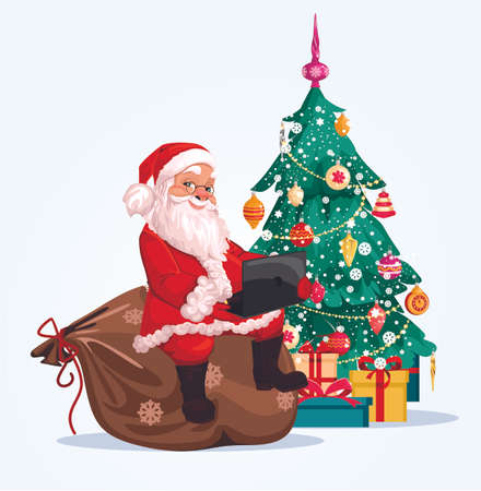 Merry Santa Claus, Christmas tree decorated with toys and tinsel. smiling cartoon character, Christmas holidays, in the background, sitting on a bag with a laptop. Vector graphics