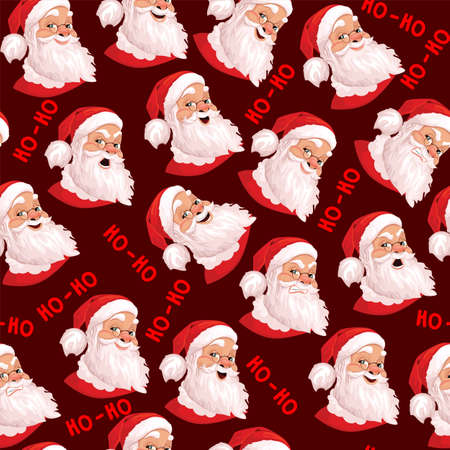 Santa Claus seamless pattern, set of 6 real emotions. Ideal for wallpapers, textiles, backdrops, wrapping paper. Template design. Evil, kind, cheerful.