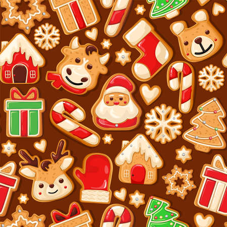 Gingerbread Pattern. Snowy background. gingerbread set. Perfect for Christmas banners, greeting cards, and presentations. Vector illustration.