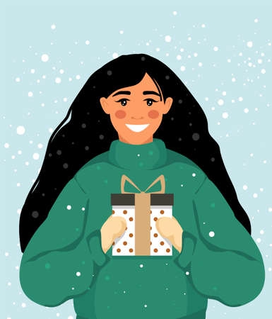 Happy woman gives a gift. Merry Christmas and Happy New Year. Vector illustration