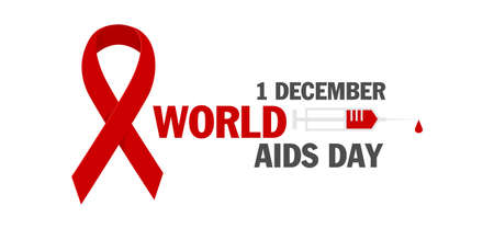 HIV test. World AIDS Day 1 December, red ribbon.