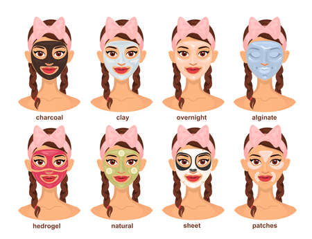Set of young beautiful woman in different types of face masks. Skin care, tightening and moisturizing. Various spa treatments for facial skin.