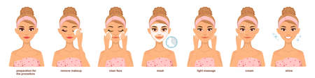 Set of woman doing home beauty treatments. Procedure of applying face sheet mask.Facial care. vector drawing