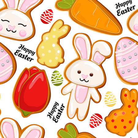 Gingerbread icon pattern, Easter holiday, colored eggs, carrots and bunny. Vector easter