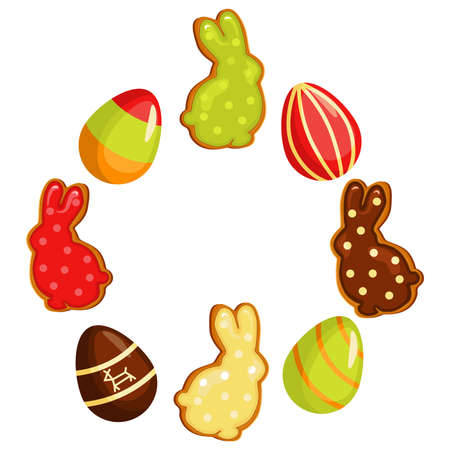 Easter banner holiday, with Easter eggs and gingerbread cookies arranged in a circle. Vector