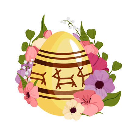 Easter banner holiday day, with Easter eggs and flowers, concept. Vector