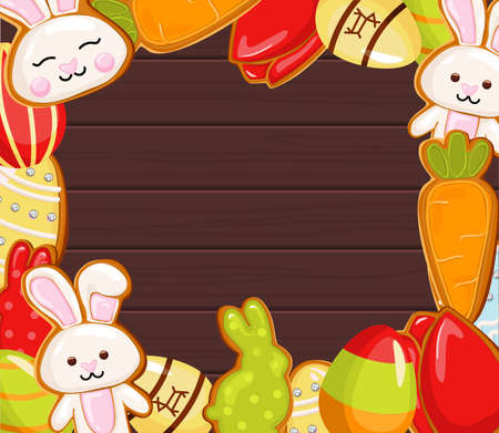 Easter banner holiday day, with easter eggs and gingerbread cookies on wooden background, concept.