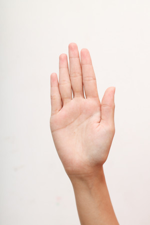 beautiful woman hand showing gesture