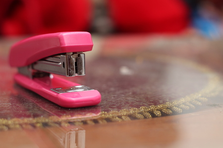Stapler pink Stock Photo