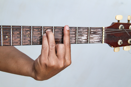 Playing guitar, in chord G minor