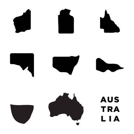 Australia map set icon vector trendy