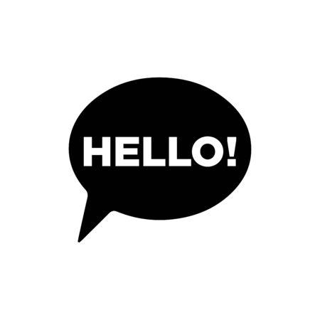 Hello signage bubble talk icon flat vector template design trendy Vector Illustration
