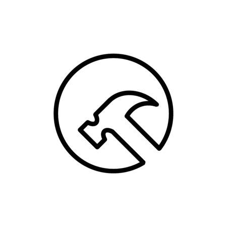 Hammer icon flat vector template design trendy