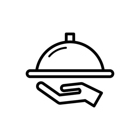 Tray on hand icon flat vector template design trendy
