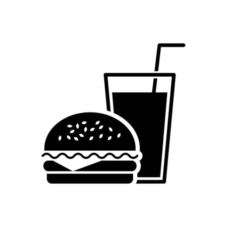 Burger and drink icon vector illustration template design trendy