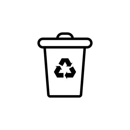 Trash can icon flat vector template design trendy Vettoriali