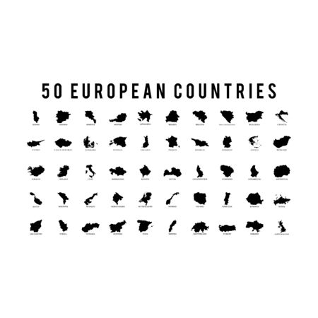 50 European countries set icon flat vector template design trendy
