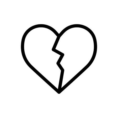 Broken heart icon flat vector template design trendy