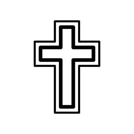 Christian cross icon flat vector template design trendy Çizim