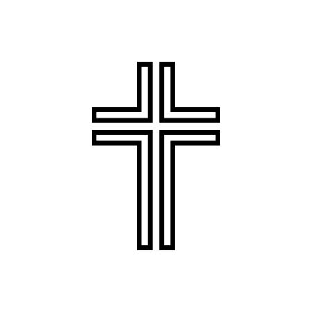 Christian cross icon flat vector template design trendy