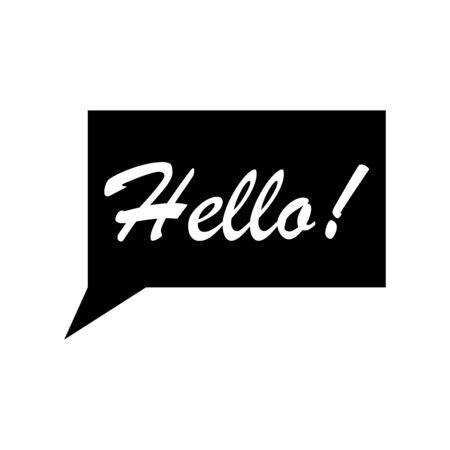 Hello signage icon flat vector template design trendy