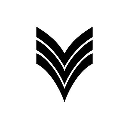 Military rank icon flat vector template design trendy