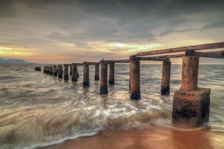 pinang: Beautiful sunset at Robina beach, Pulau Pinang Malaysia. HDR Image Stock Photo