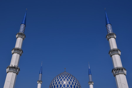 sunni: Minaret and Dome of the Sultan Salahuddin Abdul Aziz Shah Mosque is the state mosque of Selangor, Malaysia. It is known as Blue Mosque. Its construction finished in 1988. The Minaret height is 142.3m