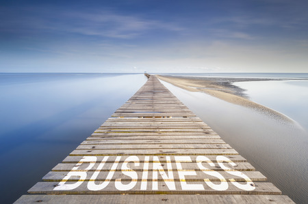 Endless jetty at blue sky over a sea to the horizon. On the jetty is written the word Business. Concept for proceeding to business success.
