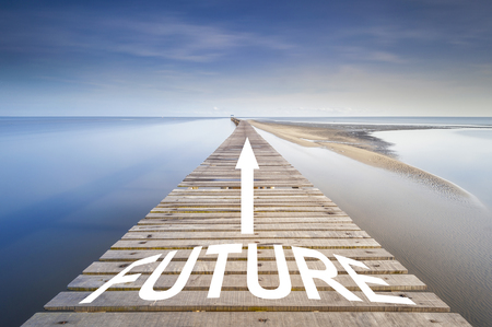 地平線にターコイズ ブルーの海につながる白の矢印と無限の桟橋。桟橋で単語未来を書かれています。未来を進むためのコンセプト。