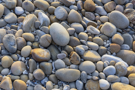Close up of rounded and polished beach stones on the Sabah Borneo, Malaysia asean