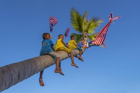 マレーシア ・ サバ州センポルナ 2016 年 8 月 31 日;独立記念日ムルデカ日コンセプト - ココナッツ木登り地元の少年青空とマレーシアのフラグを保持 報道画像