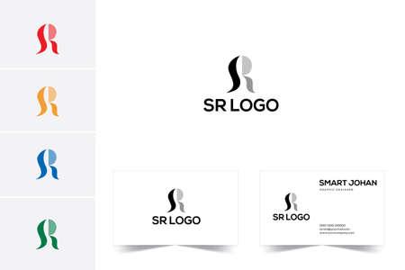 SR Letter Logo Design with Creative Modern Trendy Typography.
