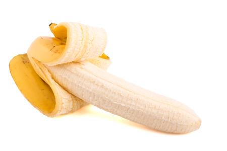 peeled banana: Peeled banana isolated on white background Stock Photo