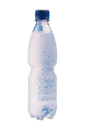 misted: Misted plastic bottle of water with water drops on the surface Stock Photo