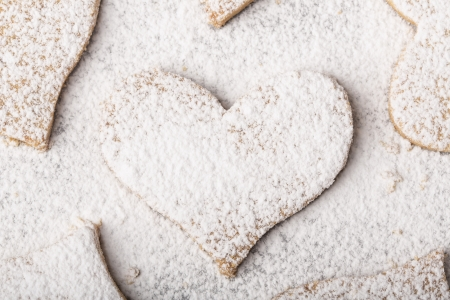 Biscuits  strewed by powdered sugar Stock Photo