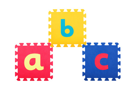 ABC written on the rubber mats isolated on white photo