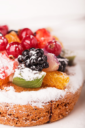 Traditional French dessert with fruits and berries photo