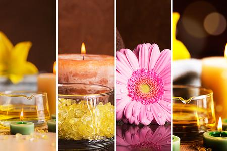 bodegones: SPA collage: bodegones con aceite de hierbas, velas y toallas