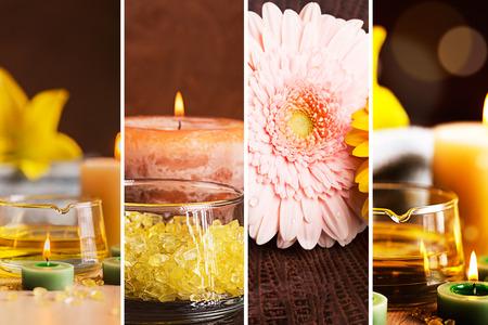 bodegones: SPA collage: bodegones con aceite a base de hierbas, velas y toallas Foto de archivo