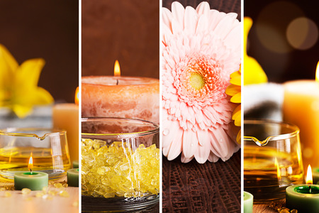 still lifes: SPA collage: still lifes with herbal oil, candles and towels