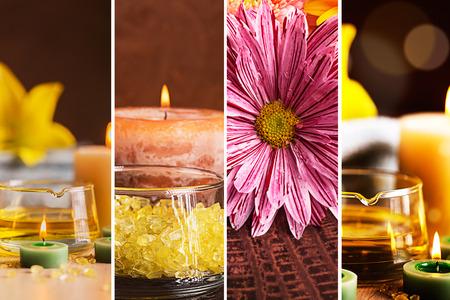 bodegones: SPA collage: bodegones con aceite a base de hierbas, velas y toallas de