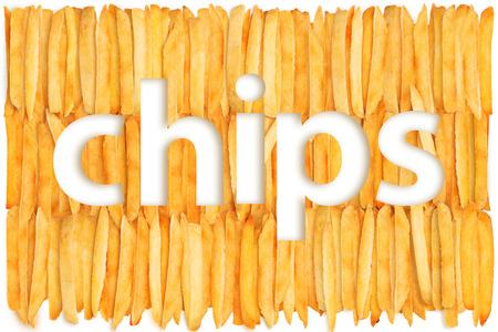prepared potato: Fast food. Inscription on the chips
