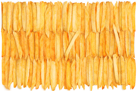prepared potato: French fries background isolated on white