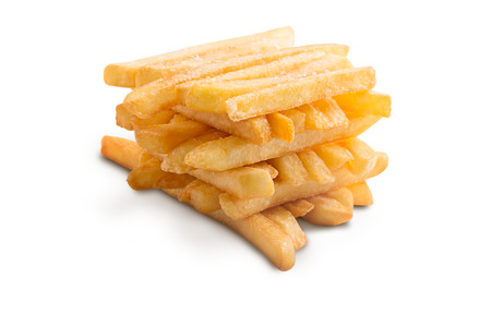 quick snack: A pile of french fries isolated on white