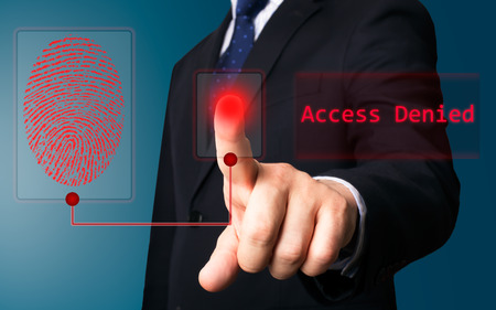Business person working with modern virtual technology (electronic key) photo